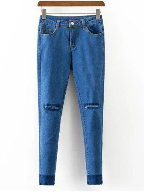 best Pockets Distressed Narrow Feet Jeans - BLUE M Mobile