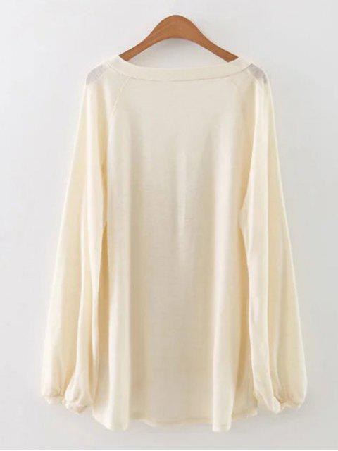 hot Plunging Neck Lantern Sleeve Tee - WHITE L Mobile