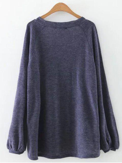 shops Plunging Neck Lantern Sleeve Tee - BLUE GRAY M Mobile