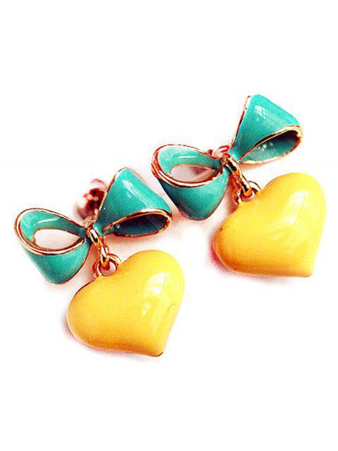 ladies Bowknot Heart Drop Earrings - YELLOW  Mobile