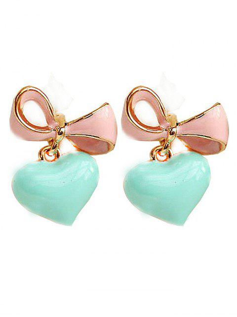 lady Bowknot Heart Drop Earrings - LIGHT GREEN  Mobile