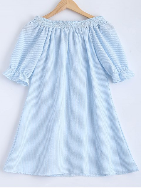 shop Bowknot Off Shoulder Striped Dress - LIGHT BLUE S Mobile