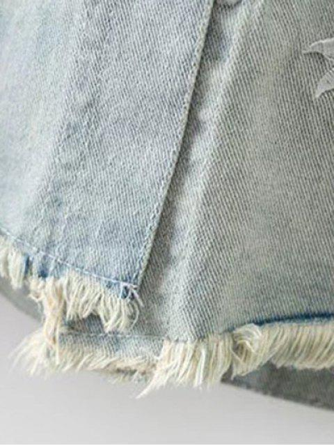 fancy Daisy Embroidered Frayed Denim Jacket - LIGHT BLUE M Mobile