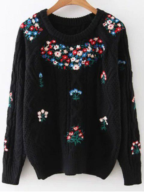 ladies Flower Embroidered Sweater - BLACK ONE SIZE Mobile