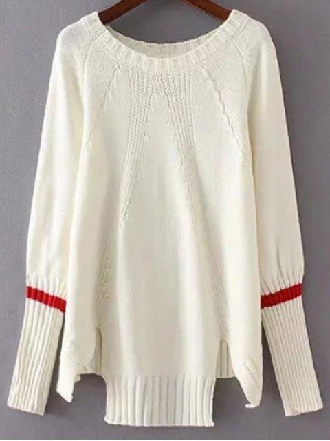latest High Low Raglan Sleeve Slit Sweater - WHITE ONE SIZE Mobile