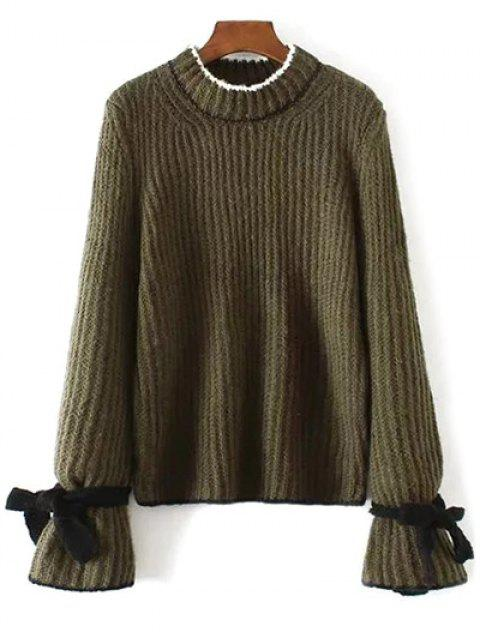 best Conrtast Trim Crew Neck Sweater - ARMY GREEN ONE SIZE Mobile