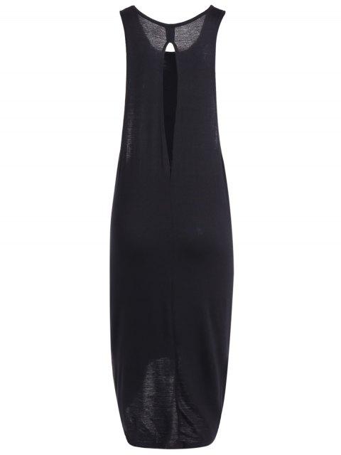 Robe débardeur imprimée Cutout High Low Hem - Noir 2XL Mobile
