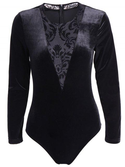 online See-Through Long Sleeve Lace Spliced Bodysuit - BLACK M Mobile