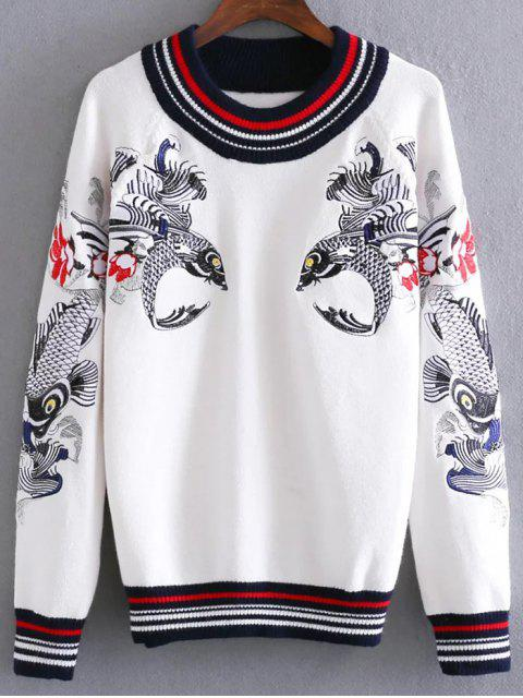 fancy Fish Embroidered Sweater - WHITE ONE SIZE Mobile
