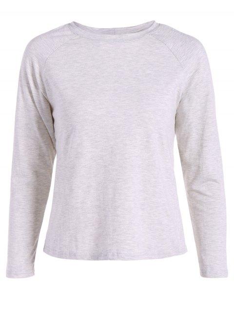 sale Slit Back T-Shirt - GRAY L Mobile