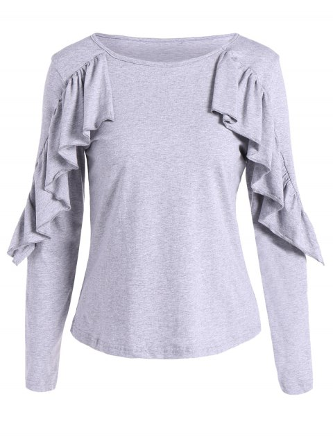lady Long Sleeve Frill T-Shirt - GRAY S Mobile