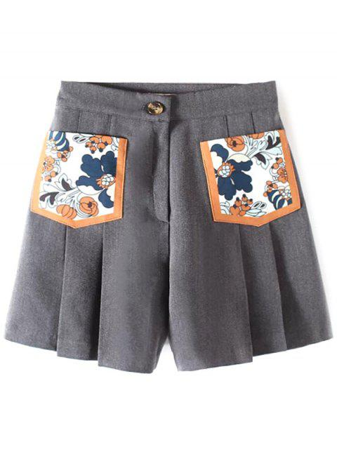 Plissé Pocket Patch Shorts - Gris M Mobile