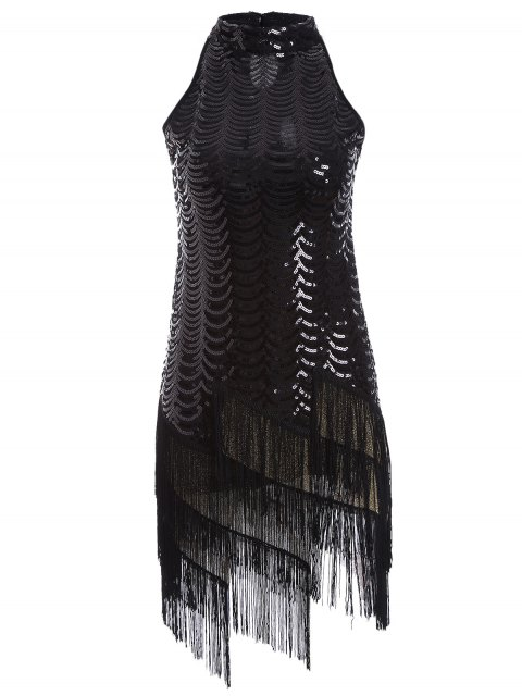 fancy Tassels Sequins Party Dress - BLACK ONE SIZE Mobile