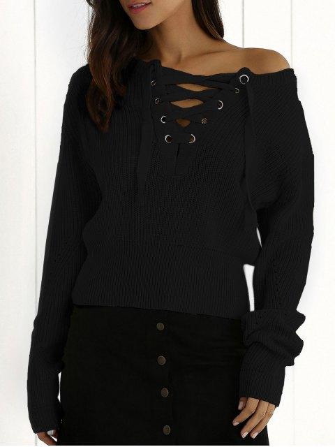 Gerippter Schnürsenkel Crop Pullover - Schwarz Eine Größe Mobile