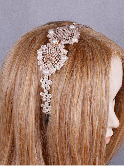 latest Faux Pearl Hollow Out Lace Hair Band - OFF-WHITE  Mobile