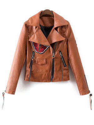 Floral Patchwork Biker Jacket - Brown M