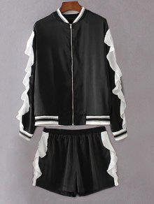 Flounced Stand Neck Jacket With Shorts - Black L