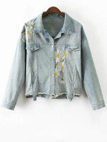 Daisy Brodé Frayed Denim Jacket - Bleu Clair S