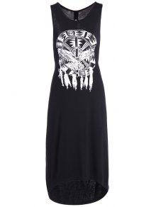 Printed Cutout High Low Hem Tank Dress - Black 2xl