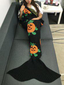 Halloween Pumpkin Multicolor Crochet Knitting Mermaid Tail Style Blanket - Noir