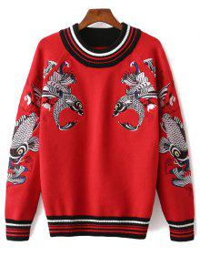Fish Embroidered Sweater - Red