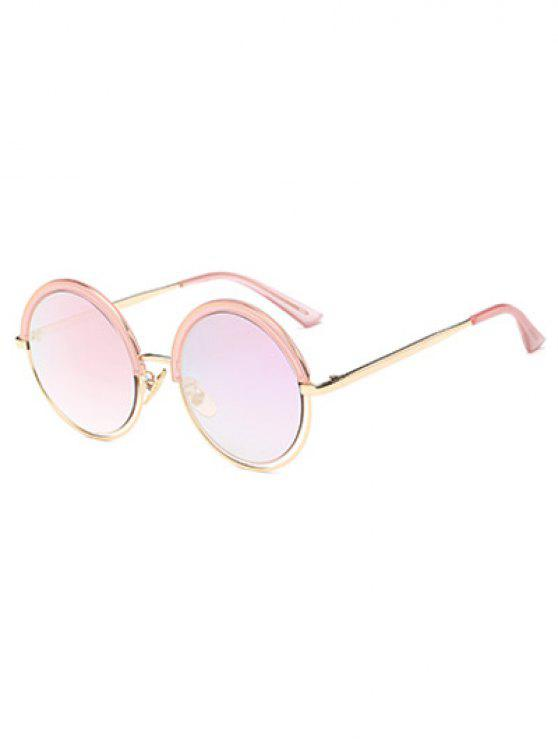 online Hollow Out Mirrored Round Sunglasses - PINK