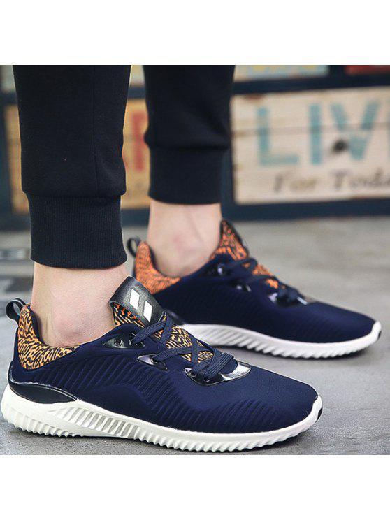 اللون كتلة تمتد النسيج أحذية رياضية - ازرق غامق 44