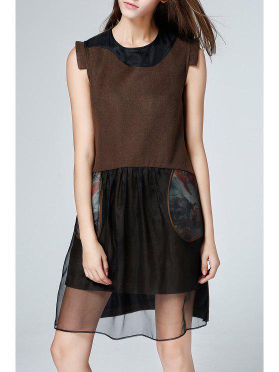 sale Silk Splicing Knee Length Sleeveless Dress - COFFEE M