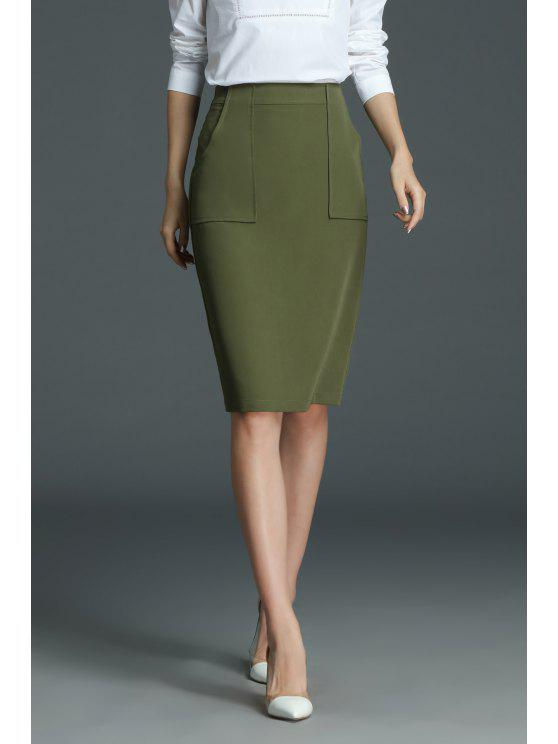 be20de33e 28% OFF] 2019 Work Knee Length Pencil Skirt In OLIVE GREEN | ZAFUL