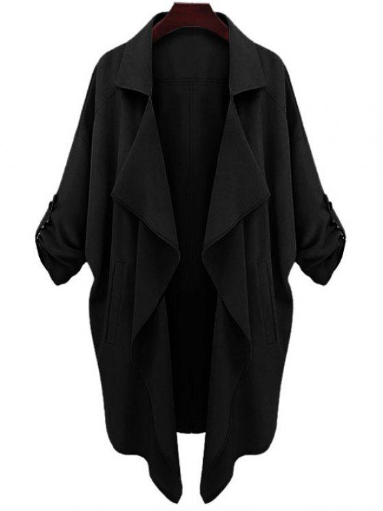 affordable Long Sleeve Solid Color Trench Coat - BLACK S