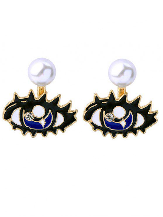 Perle Artificial Eye détachables Boucles d'oreilles - Blanc