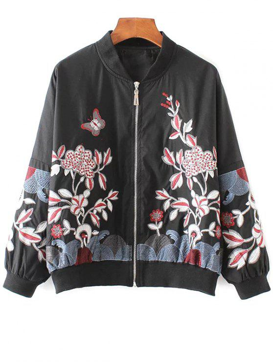 chic Embroidered Souvenir Jacket - BLACK S