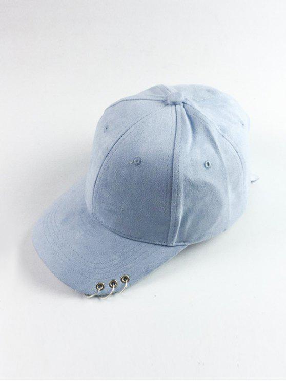 lady Circle Hoop Faux Suede Baseball Hat - LIGHT BLUE