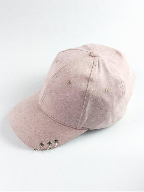 outfit Circle Hoop Faux Suede Baseball Hat - SHALLOW PINK
