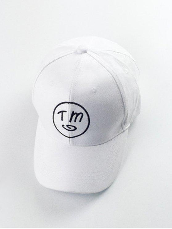 affordable Letter Round Embroidery Baseball Hat - WHITE