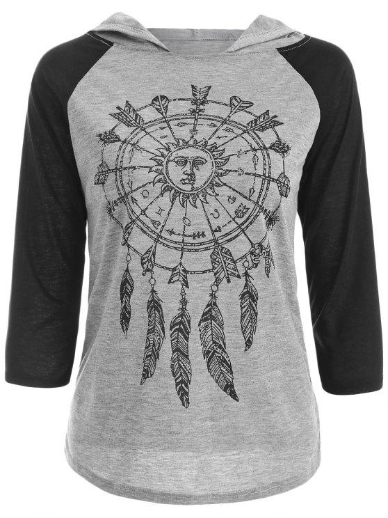 Cappuccio stampato Raglan T-Shirt - Grigio L
