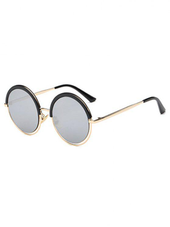 ladies Eyebrow Metal Leg Round Sunglasses - BLACK
