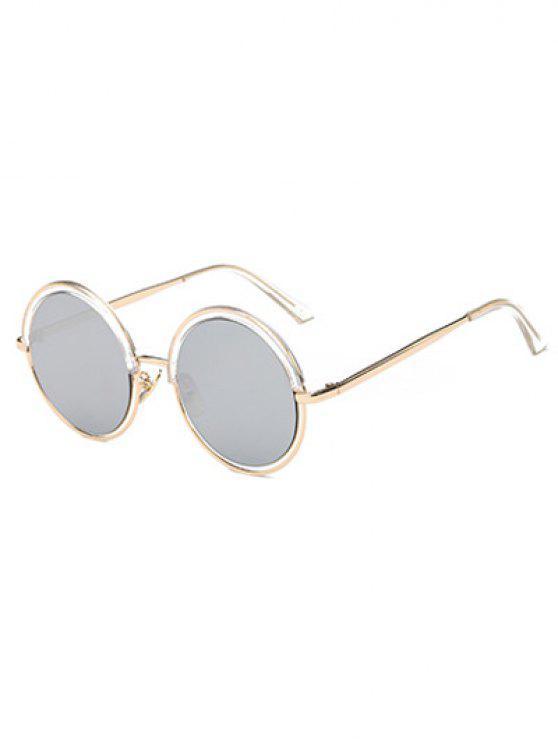 La ceja del metal de la pierna gafas de sol redondas - Transparente