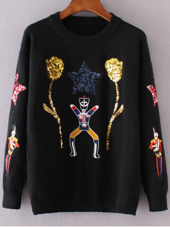 trendy Sequins Cartoon Pattern Sweater - BLACK S