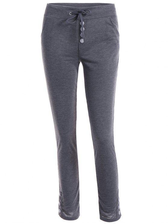 affordable Drawstring Joggings Pants - DEEP GRAY XL