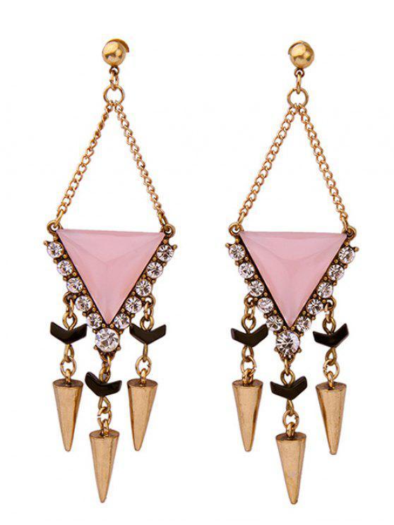 unique Rhinestone Triangle Rivet Pendant Earrings - PINK