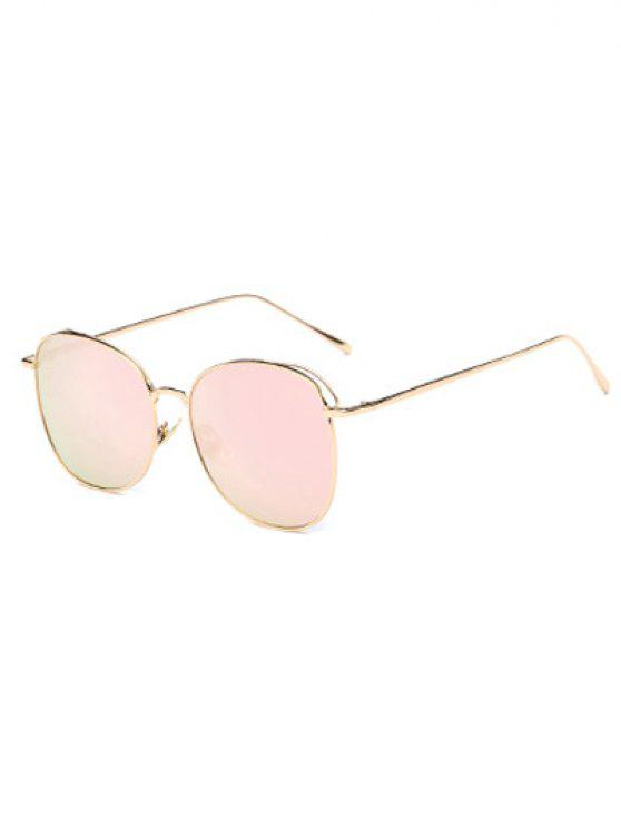 women Irregular Square Metal Mirrored Sunglasses - PINK