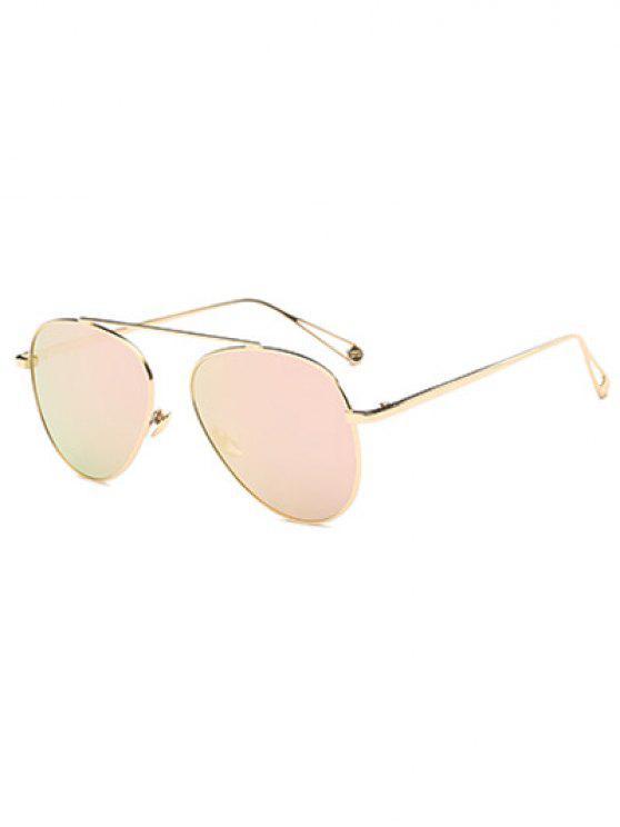 Ligera metal con espejo gafas de sol de piloto - Rosa