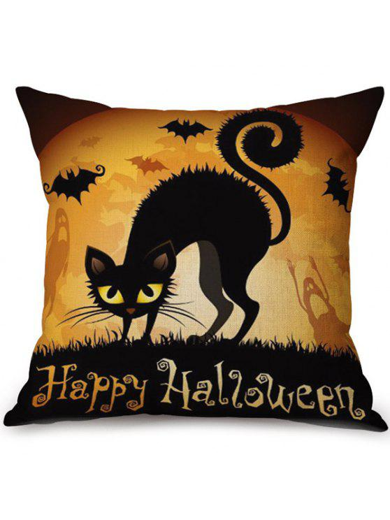 fancy Soft Happy Halloween Cat Printed Decorative Pillow Case - COLORMIX