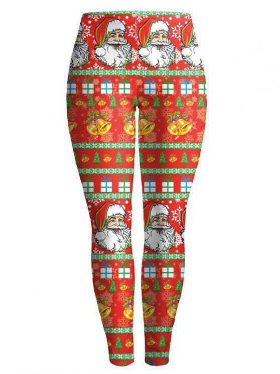 fancy Christmas Santa Clause Leggings - RED S