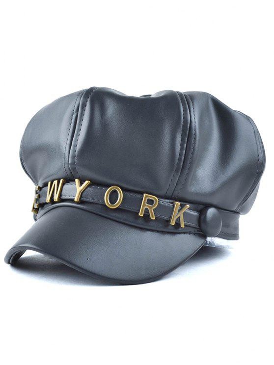 lady Letter Metal PU Newsboy Hat - BLACK GREY