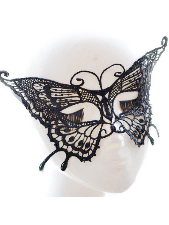 lady Faux Lace Butterfly Hallowmas Party Mask - BLACK