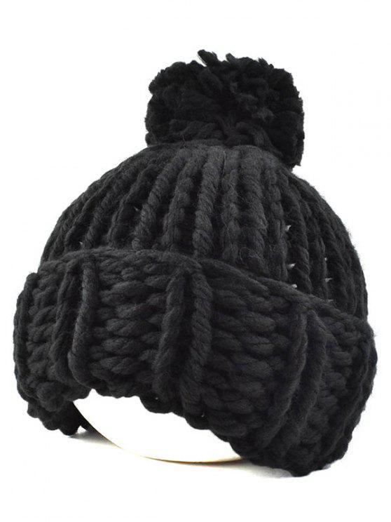 Bonnet tricoté avec frange de grande boule - Noir