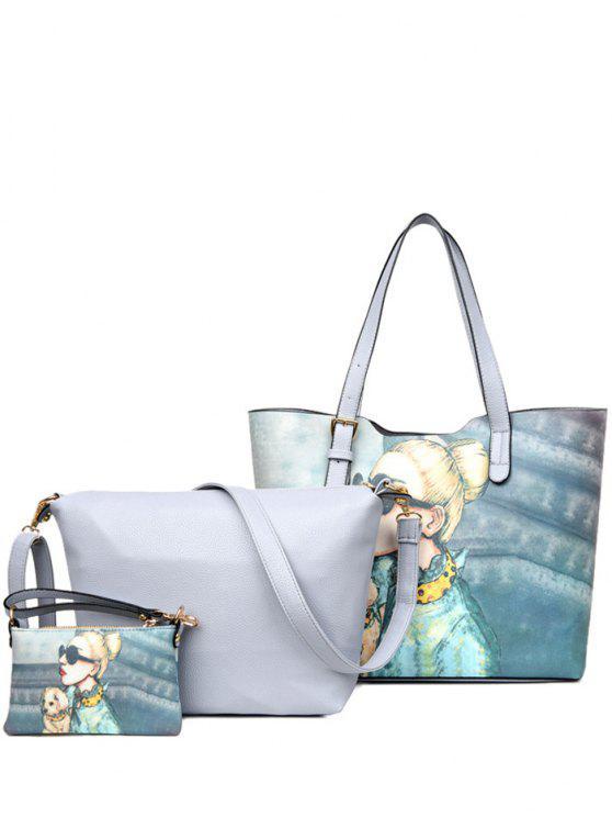 buy Painted Buckle Strap Shoulder Bag - GRAY