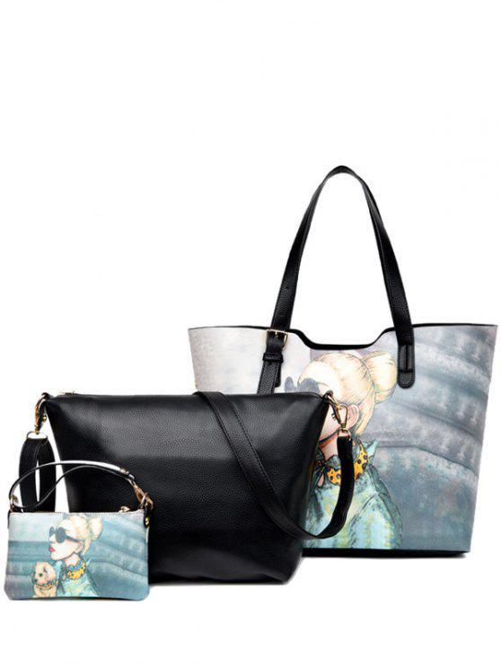 رسمت حقيبة الكتف الشريط الإبزيم - أسود